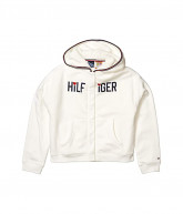 Tommy Hilfiger Adaptive Faux Fur Lined Signature Hoodie (Little Kids/Big Kids) (Snow White) Women's Clothing