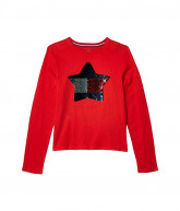 Tommy Hilfiger Adaptive Star Long Sleeve T-Shirt (Little Kids/Big Kids) (High Risk Red) Women's Clothing