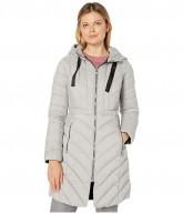 Bernardo Fashions EcoPlume Soft Touch Walker Packable Puffer Jacket with Ribbon Detail (Opal Grey) Women's Jacket