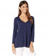 Lilly Pulitzer Etta 3/4 Sleeve Top (True Navy) Women's Clothing