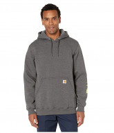 Carhartt Midweight Signature Sleeve Logo Hooded Sweatshirt (Carbon Heather) Men's Sweatshirt