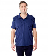 Care+Wear Dual Chest Port Access Polo (Navy Blue) Men's Short Sleeve Pullover
