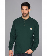Carhartt Workwear Pocket L/S Henley (Hunter Green) Men's Long Sleeve Pullover